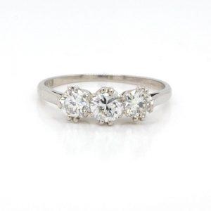 Vintage Diamond and Platinum Three Stone Ring, 0.85 carats