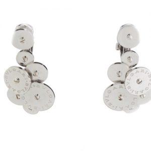 Bvlgari 18ct White Gold Disc Cluster Drop Earrings; striking pair of vintage Bulgari 18ct gold earrings, post and clip fittings, Circa 1990s
