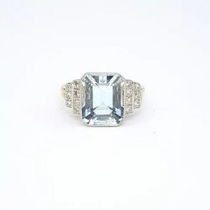 Emerald Cut Aquamarine and Diamond Ring, 4.00 carats