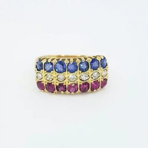 Ruby, Sapphire and Diamond Three Row Ring in 18ct Yellow Gold