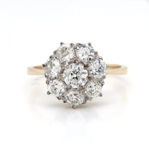 Antique Old Cut Diamond Cluster Ring, 1.40 carats, 18ct Yellow Gold
