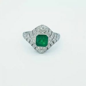 Art Deco Style Colombian Emerald and Diamond Domed Cocktail Ring