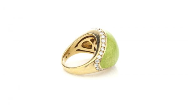Faberge Limited Edition Green Enamel, Diamond, 18ct Gold Domed Cocktail Ring