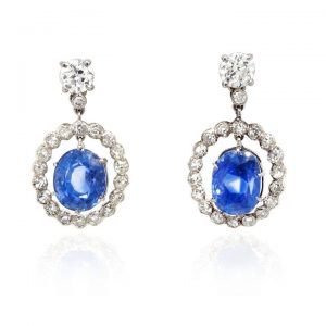 Ceylon Sapphire and Diamond Cluster Drop Earrings, 10.13 carats