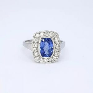 1.80ct Sapphire and Diamond Rectangular Cluster Ring in 18ct White Gold