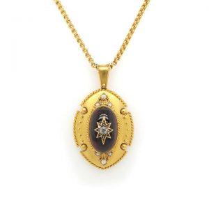 Antique Victorian Ornate Cabochon Garnet and Gold Pendant, Circa 1880