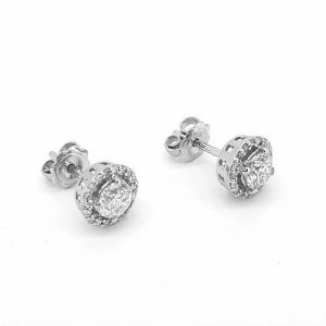 Contemporary Diamond Cluster Halo Stud Earrings, 1.19 carats