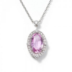 Pink Topaz and Diamond Oval Cluster Pendant, 2.23 carats