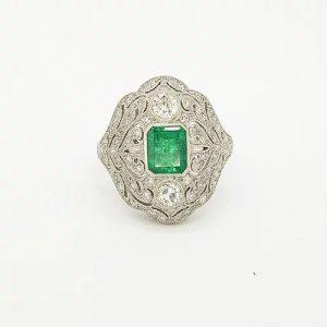 Colombian Emerald, Diamond and Platinum Openwork Plaque Ring