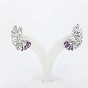 Art Deco Old Cut Diamond and Ruby Spray Earrings