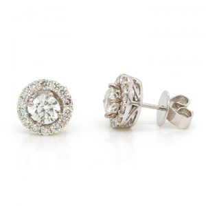 Diamond Stud Earrings with Removeable Halo Surrounds, GIA Certified