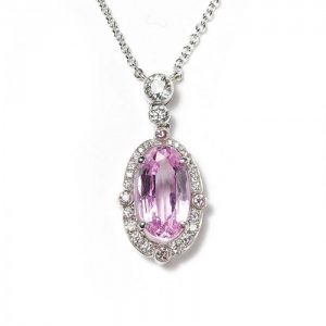 2.84ct Pink Topaz and Diamond Oval Cluster Pendant, in Platinum