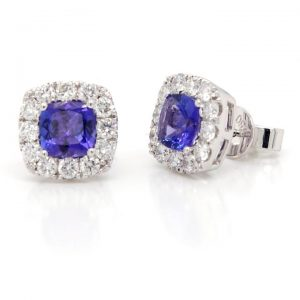 Cushion Cut Tanzanite and Diamond Cluster Stud Earrings, 1.25 carats