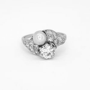Belle Epoque Natural Pearl and Old Cut Diamond Ring in Platinum