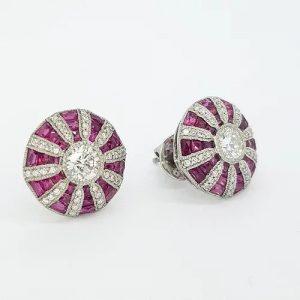 Ruby, Diamond and Platinum Cluster Target Stud Earrings