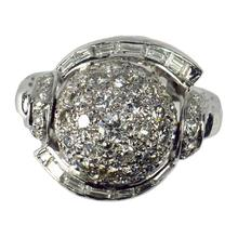 Vintage Diamond and Platinum Domed Cocktail Ring, 3.72 carats