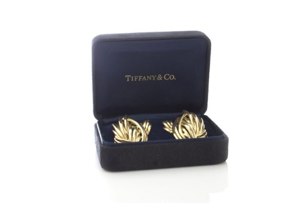 Tiffany and Co Vintage 18ct Yellow Gold Clip On Earrings; Tiffany & Co 18ct earrings in an abstract feathered design, in original box