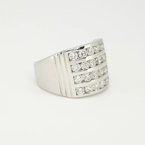 Channel Set Diamond Dress Ring; featuring four horizontal rows channel set with 2.00 carats brilliant cut diamonds, ribbed shoulders, in 18ct white gold