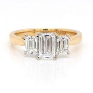 Emerald Cut Diamond Three Stone Engagement Ring, 1.38cts, Certified