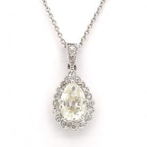 Vintage Pear Shaped Diamond Cluster Drop Pendant, 1.48cts, Certified