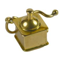 French Ruby Love Heart 18ct Yellow Gold Coffee Grinder Charm Pendant