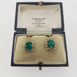 Antique Natural Colombian Emerald and Diamond Cluster Drop Earrings