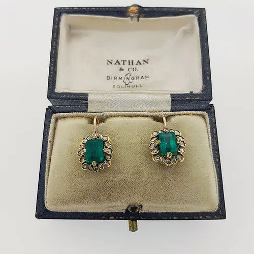Antique Natural Colombian Emerald and Diamond Cluster Drop Earrings; 2.70cts octagonal-cut Colombian emeralds surrounded by diamonds, with certificate
