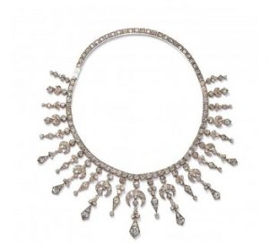 Antique Victorian Old Cut Diamond Fringe Necklace, 34.00 carats
