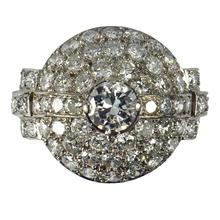 Art Deco French 3.60ct Diamond and Platinum Target Dome Bombe Ring