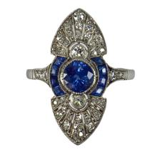 Vintage French Sapphire, Diamond and Platinum Cocktail Ring