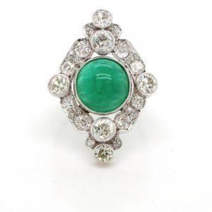 Art Deco 4ct Cabochon Emerald Diamond Platinum Cluster Plaque Ring