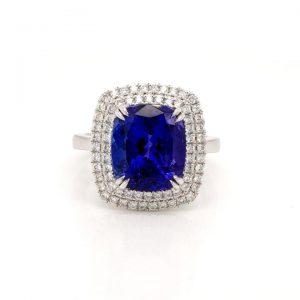 Cushion Cut Tanzanite and Diamond Cluster Ring, 6.02 carats