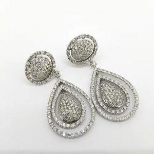 Diamond Pear Shaped Cluster Halo Drop Earrings, 6.00 carats