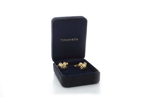Tiffany and Co 18ct Yellow Gold Cross Cufflinks; pair of vintage Tiffany & Co 18ct yellow gold cufflinks, in original box. Made in 1992