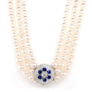 Pearl Three Row Necklace with Diamond and Sapphire Cluster Clasp