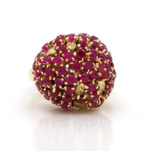 Vintage Russian Ruby and 14ct Gold Bombe Ring