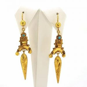 Antique Victorian Turquoise and Gold Escutcheon Drop Earrings