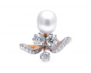 Antique French Natural Pearl and Diamond Tiara Ring