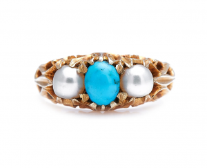 Antique Victorian Natural Pearl and Turquoise Ring