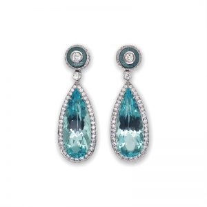 Exceptional and Rare Mint Beryl and Diamond Drop Earrings