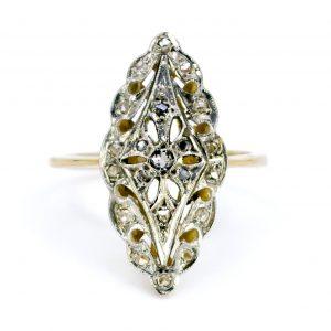 Art Deco Antique Rose Cut Diamond Navette Shaped Ring