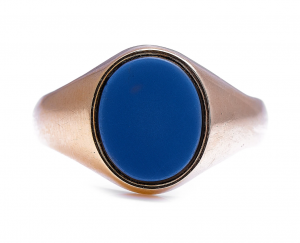 Art Deco Russian Onyx Gold Signet Ring