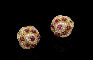 Cartier Ruby and Diamond Vintage Clip Earrings