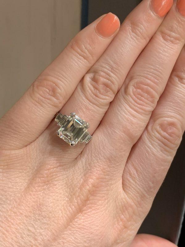 4 carat emerald cut diamond ring