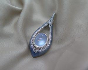 Modern 11.20ct Moonstone and Diamond Enamel Pendant