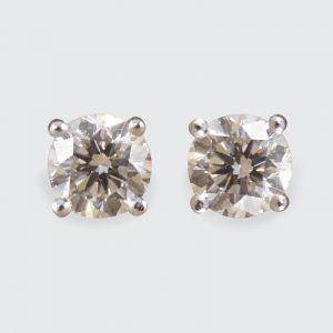 Modern 2.12ct Brilliant Cut Diamond Stud Earrings