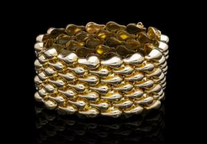 Vintage Teardrop Shape 18ct Gold Cuff Bracelet