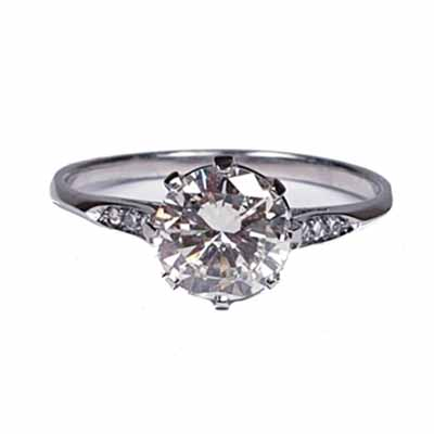 Vintage diamond engagement ring 1.05 platinum