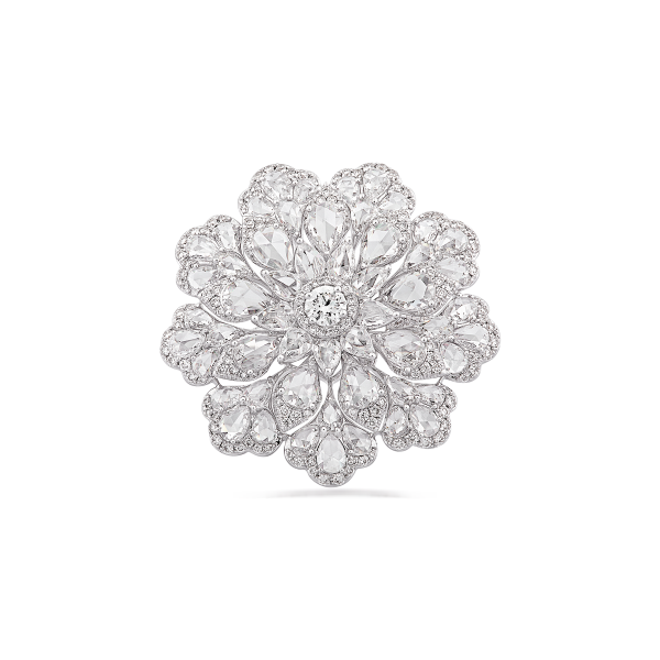 Diamond Flower Cluster Cocktail Ring; set with 54 pear shaped rose cut diamonds surrounded by round brilliant cut diamonds, 4.38 carat total, diamonds have G/H colour and VS clarity