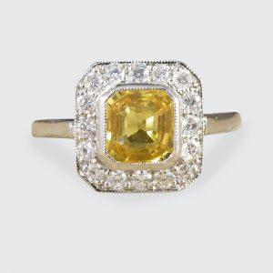 1.00ct Asscher Cut Yellow Sapphire and Diamond Cluster Ring